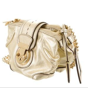 Dolce & Gabbana Metallic Leather Chain-Link Bag